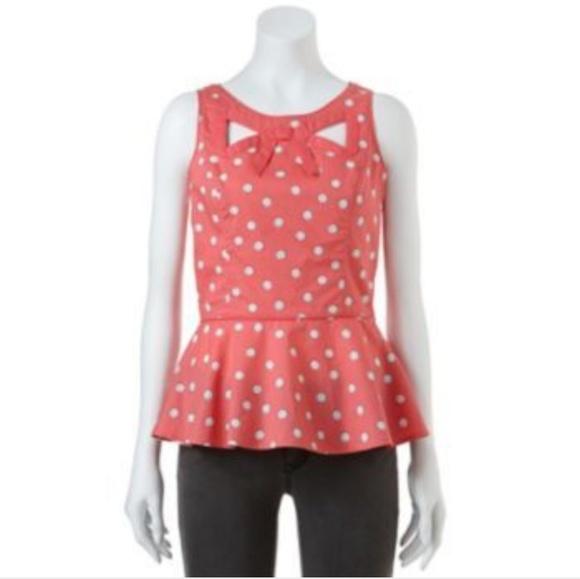 096ccae437dbc LC Lauren Conrad Tops - ❤️LC Laurn Conrad pink polka dot peplum top